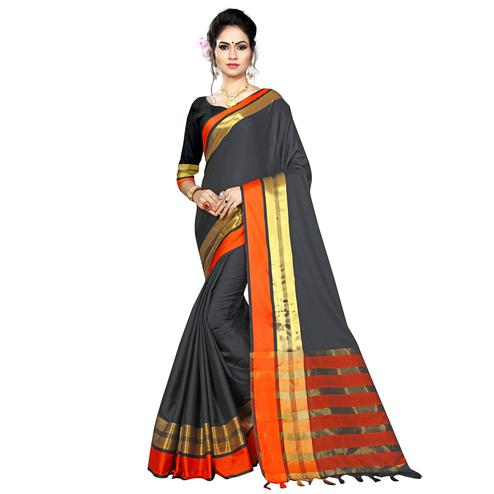 Demanding Black Colored Festive Wear Woven Cotton Saree