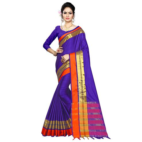 Refreshing Purple Colored Festive Wear Woven Cotton Saree