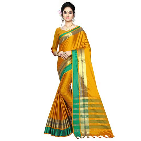 Magnetic Mustard Yellow Colored Festive Wear Woven Cotton Saree