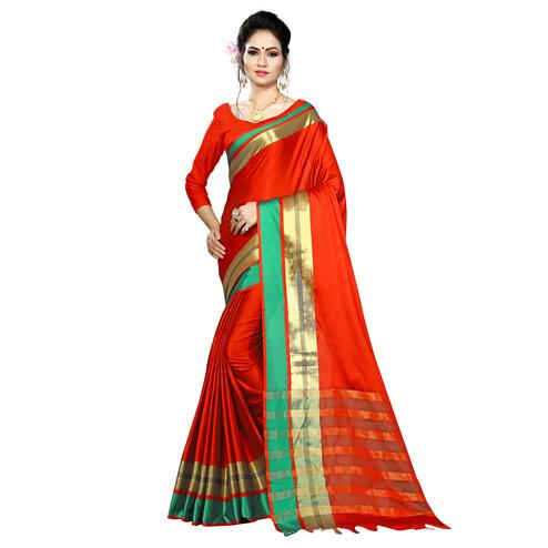Hypnotic Red Colored Festive Wear Woven Cotton Saree