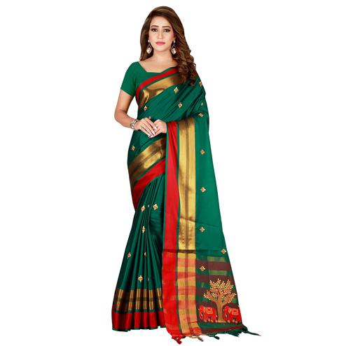 Mesmeric Ocean Green Colored Festive Wear Embroidered Cotton Saree
