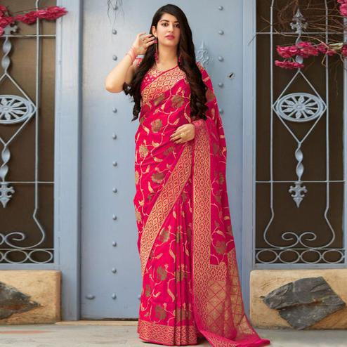 Gorgeous Dark Pink Colored Festive Wear Woven Banarasi Silk Saree