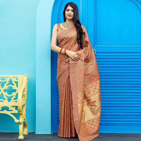 Ideal Brown Colored Festive Wear Woven Silk Saree