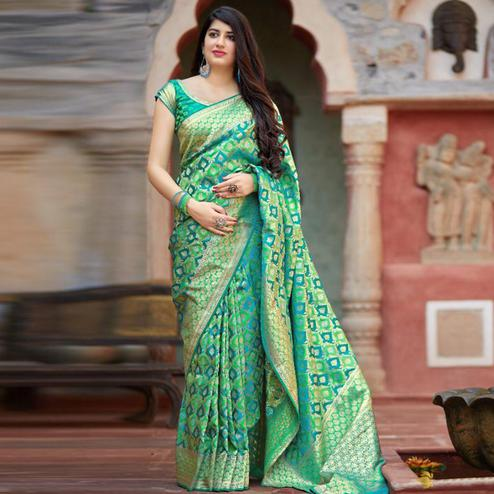 Imposing Green Colored Festive Wear Woven Banarasi Satin Silk Saree