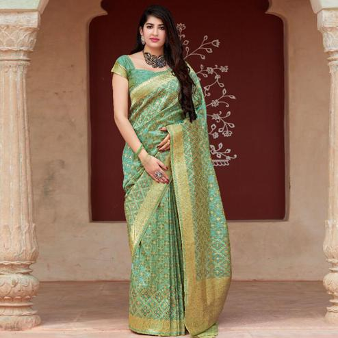 Mesmerising Mint Green Colored Festive Wear Woven Tussar Silk Saree