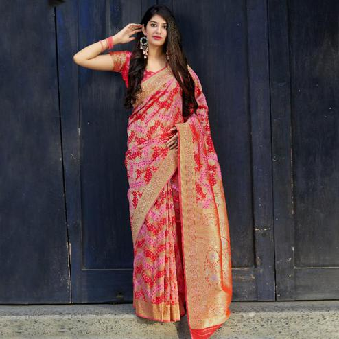 Breathtaking Pink-Red Colored Festive Wear Woven Banarasi Satin Silk Saree