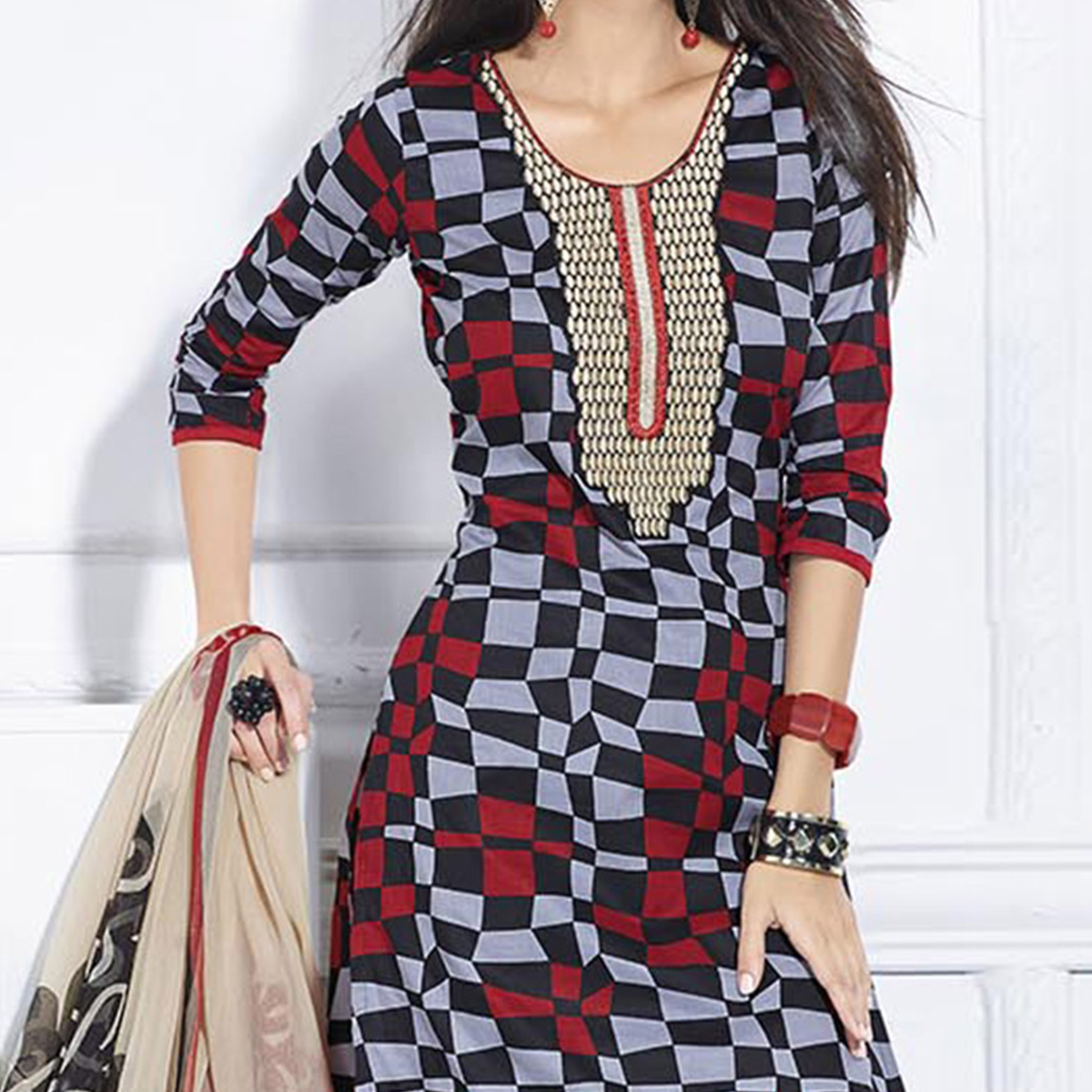 Gray - Black Checkered Design Pure Cotton Suit