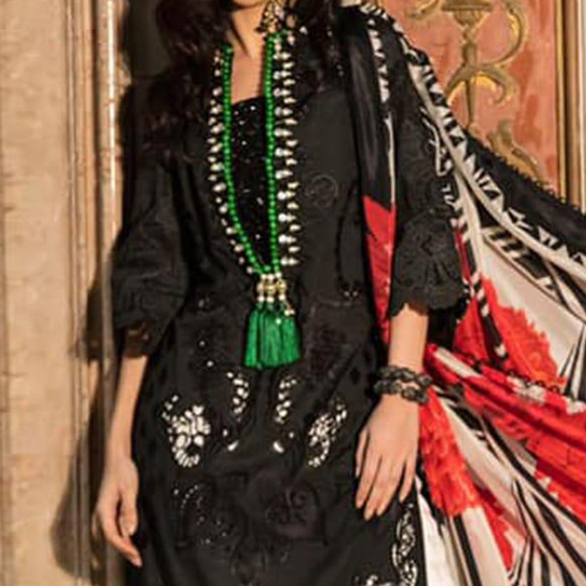 Flamboyant Black Colored Partywear Embroidered Cotton Pant Style Suit