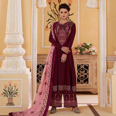 Glorious Maroon Colored Partywear Embroidered Muslin Palazzo Suit