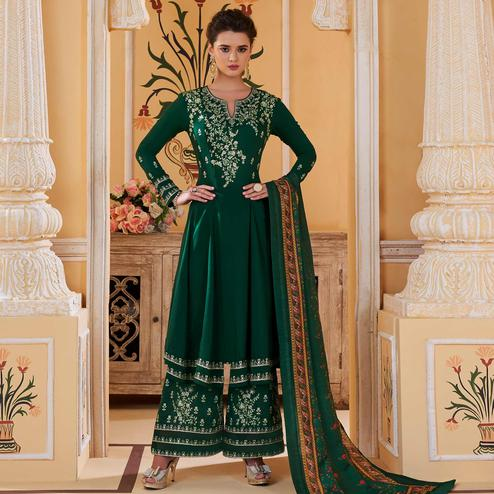 Attractive Green Colored Partywear Embroidered Muslin Palazzo Suit