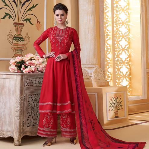 Beautiful Dark Pink Colored Partywear Embroidered Muslin Palazzo Suit