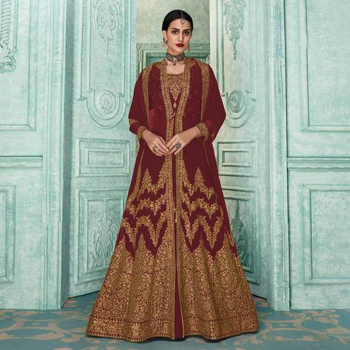Preferable Maroon Colored Partywear Embroidered Georgette Jacket Style Anarkali Suit