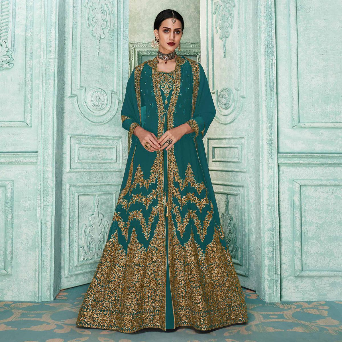 Marvellous Rama Blue Colored Partywear Embroidered Georgette Jacket Style Anarkali Suit