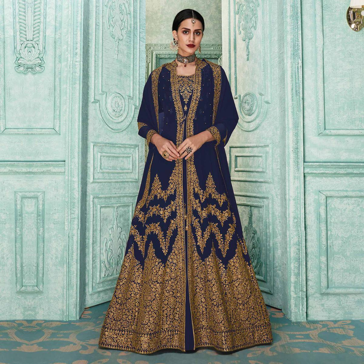 Flamboyant Navy Blue Colored Partywear Embroidered Georgette Jacket Style Anarkali Suit