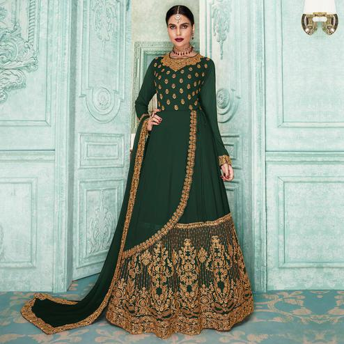 Flaunt Dark Green Colored Partywear Embroidered Georgette Jacket Style Anarkali Suit