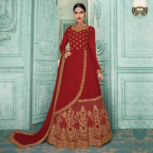Alluring Red Colored Partywear Embroidered Georgette Jacket Style Anarkali Suit