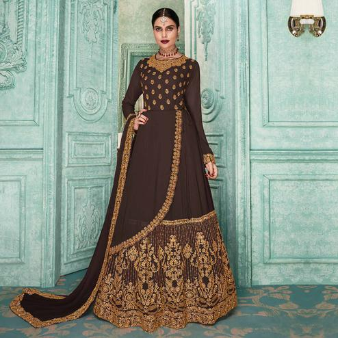 Sensational Coffee Brown Colored Partywear Embroidered Georgette Jacket Style Anarkali Suit