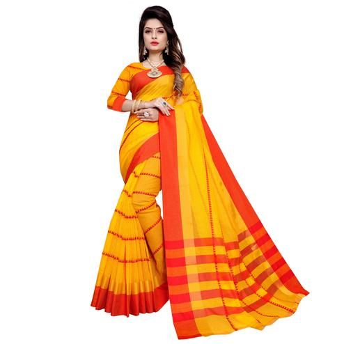 Amazing Yellow Colored Festive Wear Manipuri Silk Saree