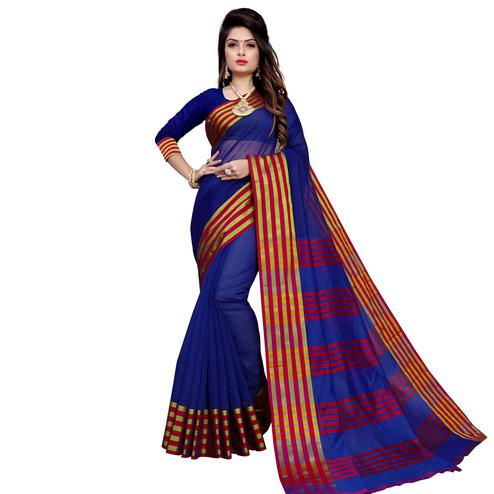 Gorgeous Navy Blue Colored Festive Wear Manipuri Silk Saree