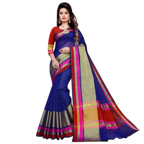Ideal Navy Blue Colored Festive Wear Manipuri Silk Saree