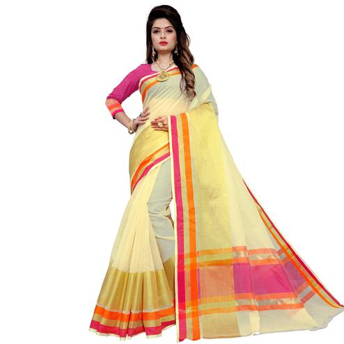 Imposing Cream Colored Festive Wear Manipuri Silk Saree