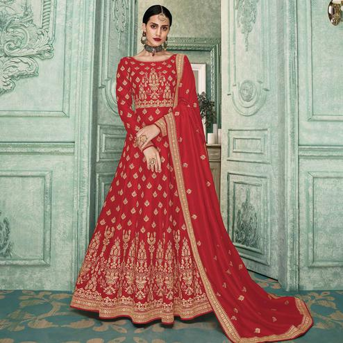 Refreshing Red Colored Partywear Embroidered Silk Anarkali Suit