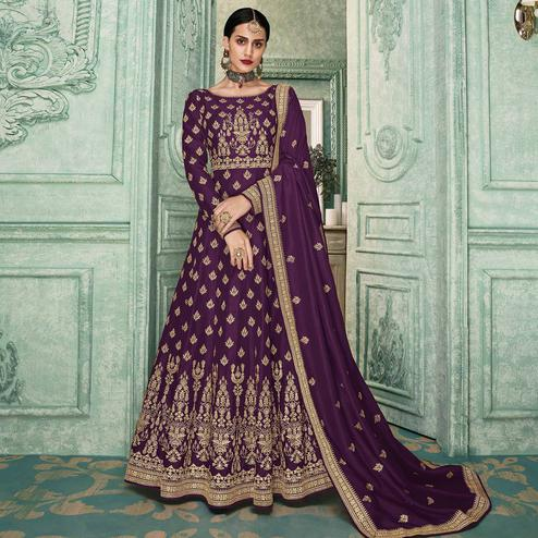 Hypnotic Purple Colored Partywear Embroidered Silk Anarkali Suit