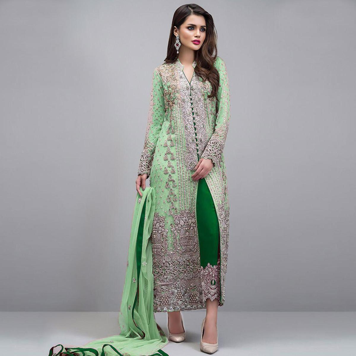 Amazing Green Colored Partywear Embroidered Georgette Pant Style Suit