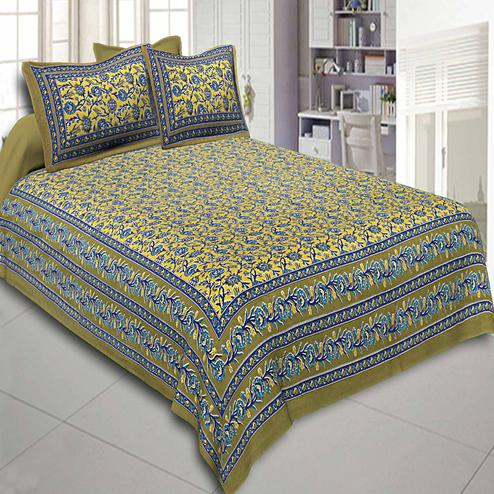 Attractive Yellow Colored Floral Printed Cotton Double Bedsheet With Pillow Cover