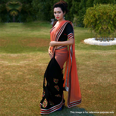 Black - Peach Lace Border And Embroidered Work Half Saree