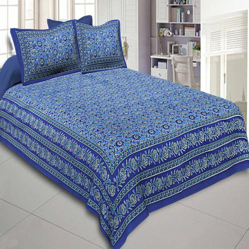 Beautiful Blue Colored Floral Printed Cotton Double Bedsheet With Pillow Cover