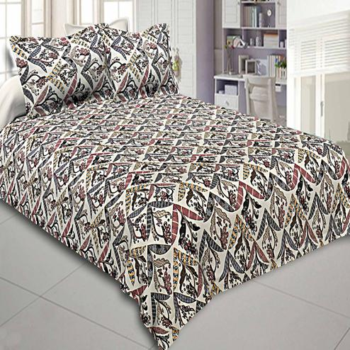 Graceful Multi Colored Geometric Floral Printed Cotton Double Bedsheet With Pillow Cover