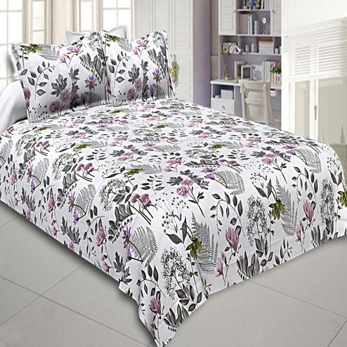 Blooming White Colored Floral Printed Cotton Double Bedsheet With Pillow Cover