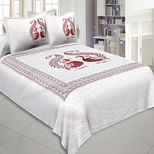 Charming White-Maroon Colored Peacock Printed Cotton Double Bedsheet With Pillow Cover