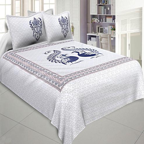 Jazzy White-Navy Blue Colored Peacock Printed Cotton Double Bedsheet With Pillow Cover