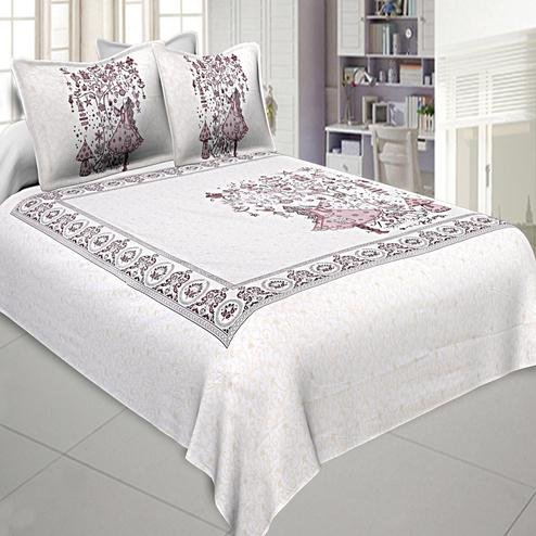 Captivating White-Mauve Colored Printed Cotton Double Bedsheet With Pillow Cover