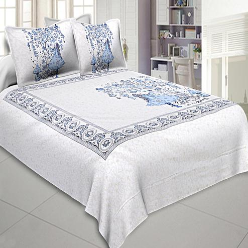 Innovative White-Blue Colored Printed Cotton Double Bedsheet With Pillow Cover