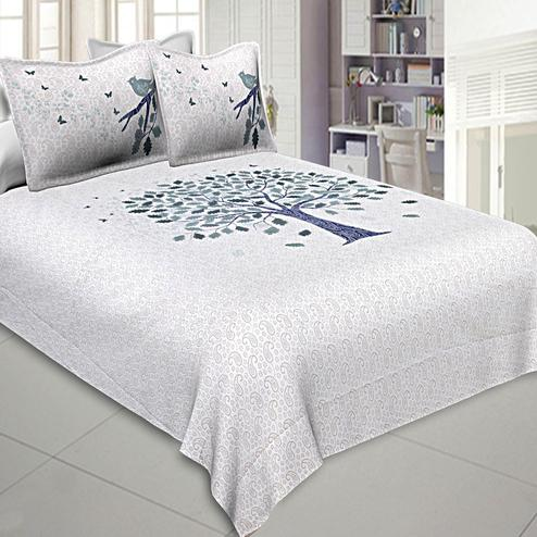 Fantastic White-Navy Blue Colored Printed Cotton Double Bedsheet With Pillow Cover