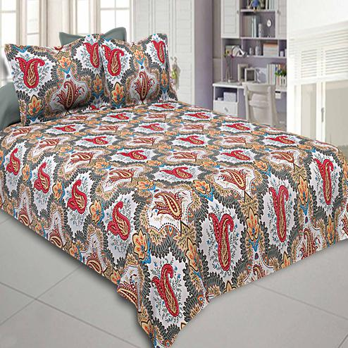 Amazing Multi-Red Colored Printed Cotton Double Bedsheet With Pillow Cover