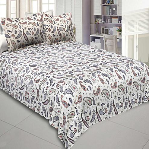 Ideal Blue Colored Printed Cotton Double Bedsheet With Pillow Cover
