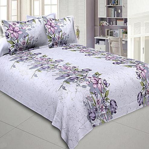 Imposing Lavender Colored Floral Printed Cotton Double Bedsheet With Pillow Cover