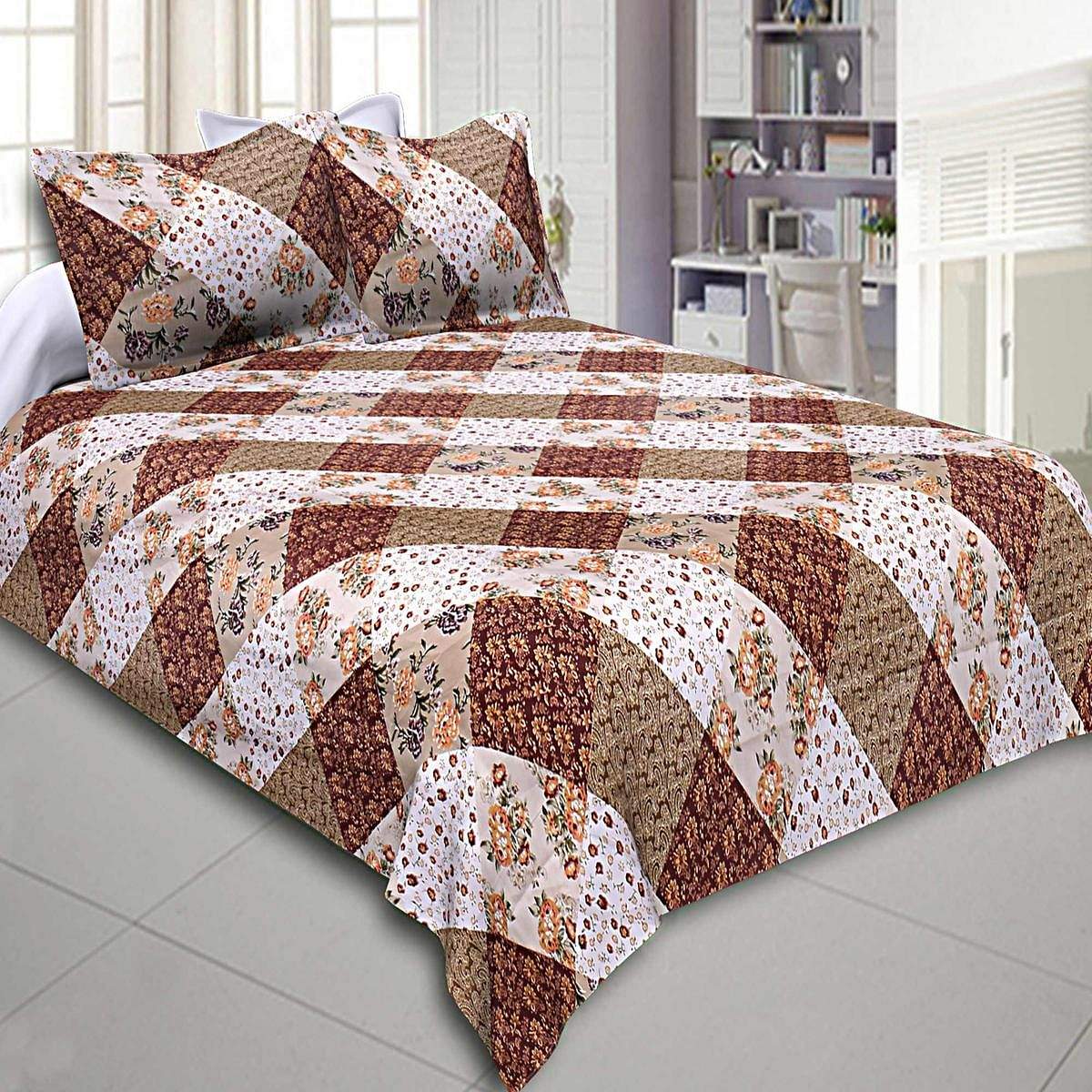 Majesty Multi-Brown Colored Floral Printed Cotton Double Bedsheet With Pillow Cover