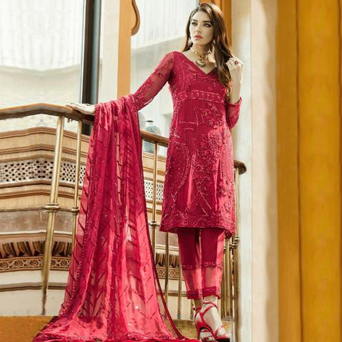 Adorable Dark Magenta Pink Colored Partywear Embroidered Georgette-Net Pant Style Suit