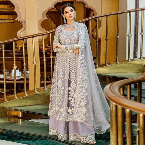 Glorious Pale Lavender Colored Partywear Embroidered Georgette-Net Palazzo Suit