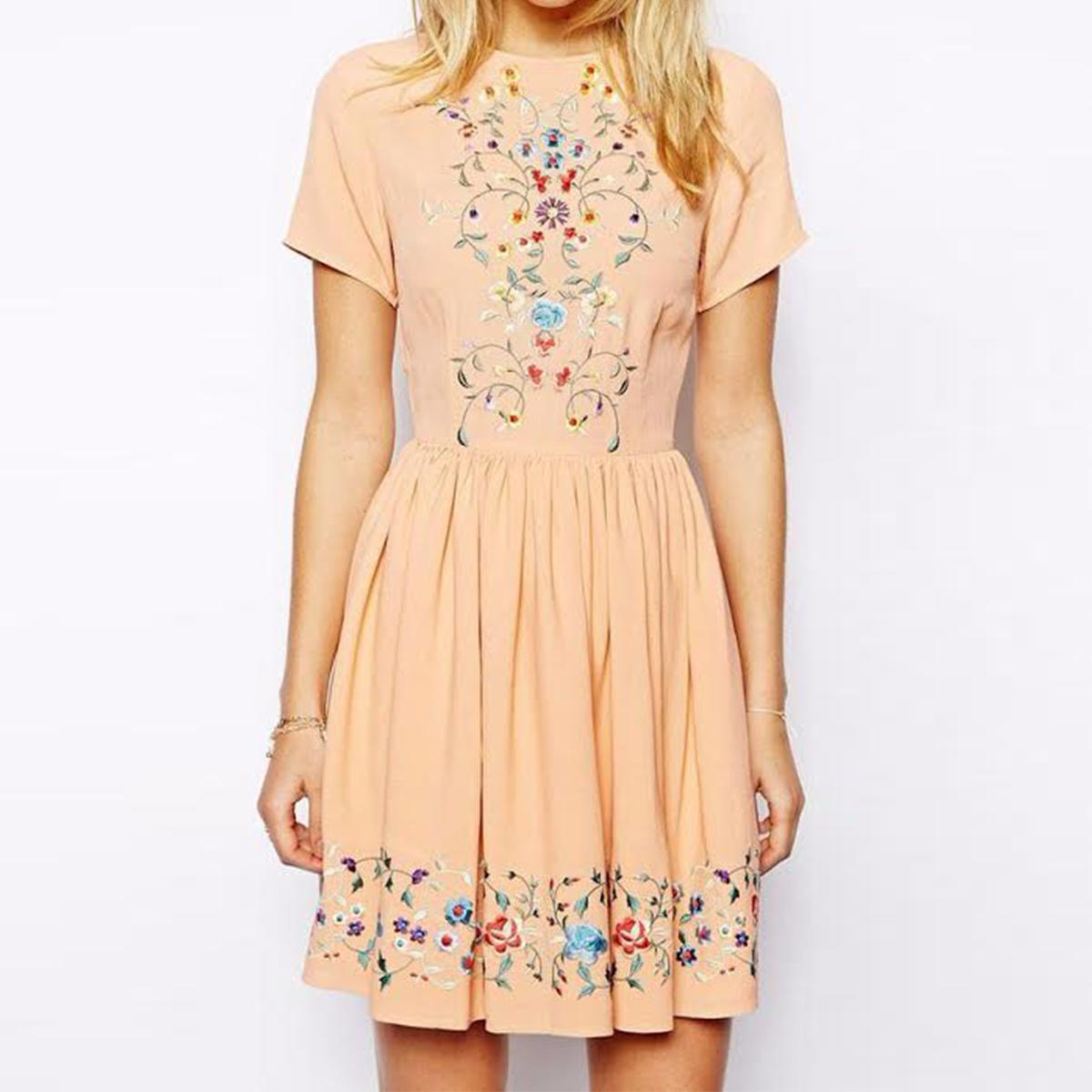 Light Peach Embroidered Georgette Dress