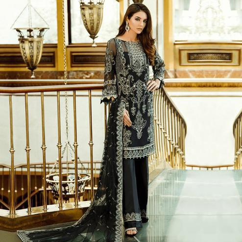 Attractive Black Colored Partywear Embroidered Georgette-Net Palazzo Suit