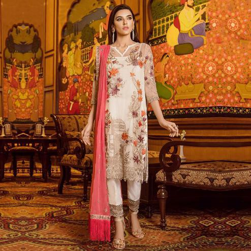 Beautiful Cream Colored Partywear Embroidered Georgette-Net Pant Style Suit