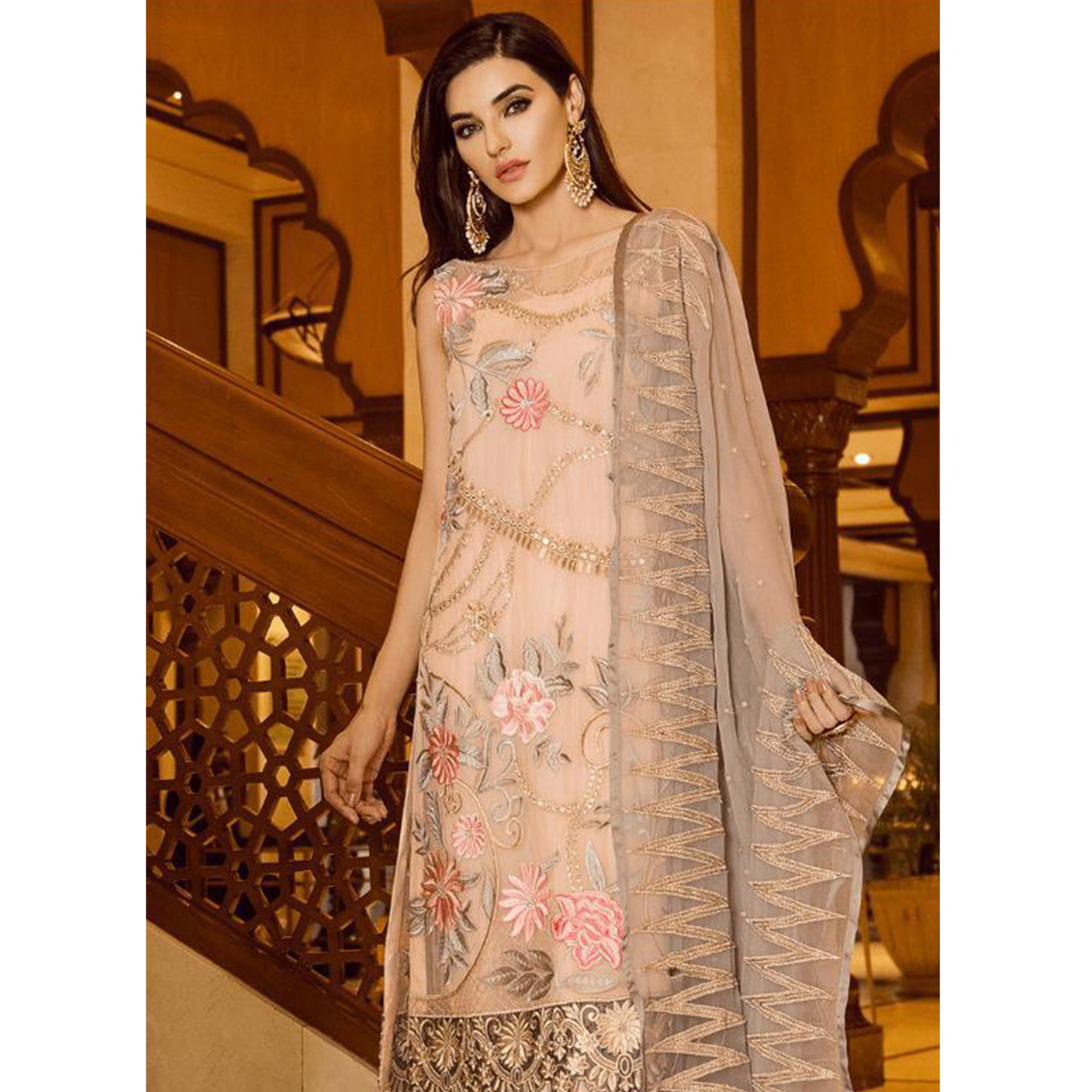 Blooming Beige Colored Partywear Embroidered Georgette-Net Pant Style Suit