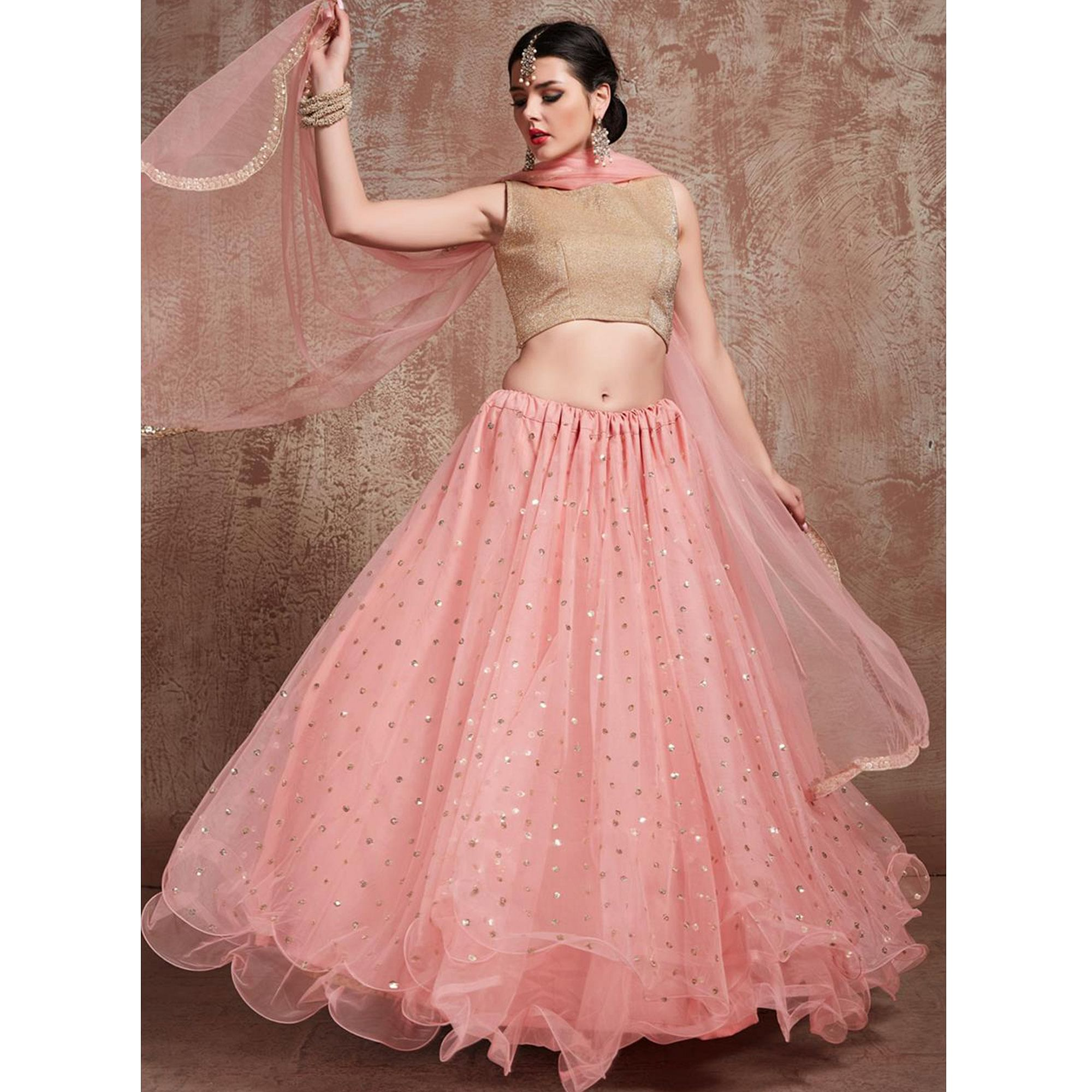 Breathtaking Pink Colored Partywear Embroidered Soft Net Lehenga Choli