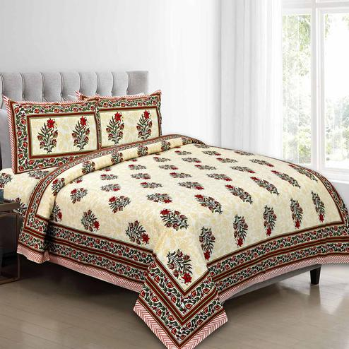 Exceptional Maroon Colored Floral Printed Pure Cotton Double Bedsheet With Pillow Cover